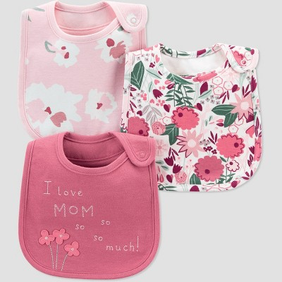 Baby Girls' 3pk Floral Bib - Just One You® made by carter's Pink