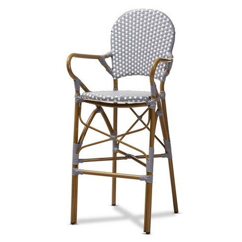 Admirable Marguerite Indoor And Outdoor Bistro Stackable Bar Stool Gray White Baxtonstudio Theyellowbook Wood Chair Design Ideas Theyellowbookinfo