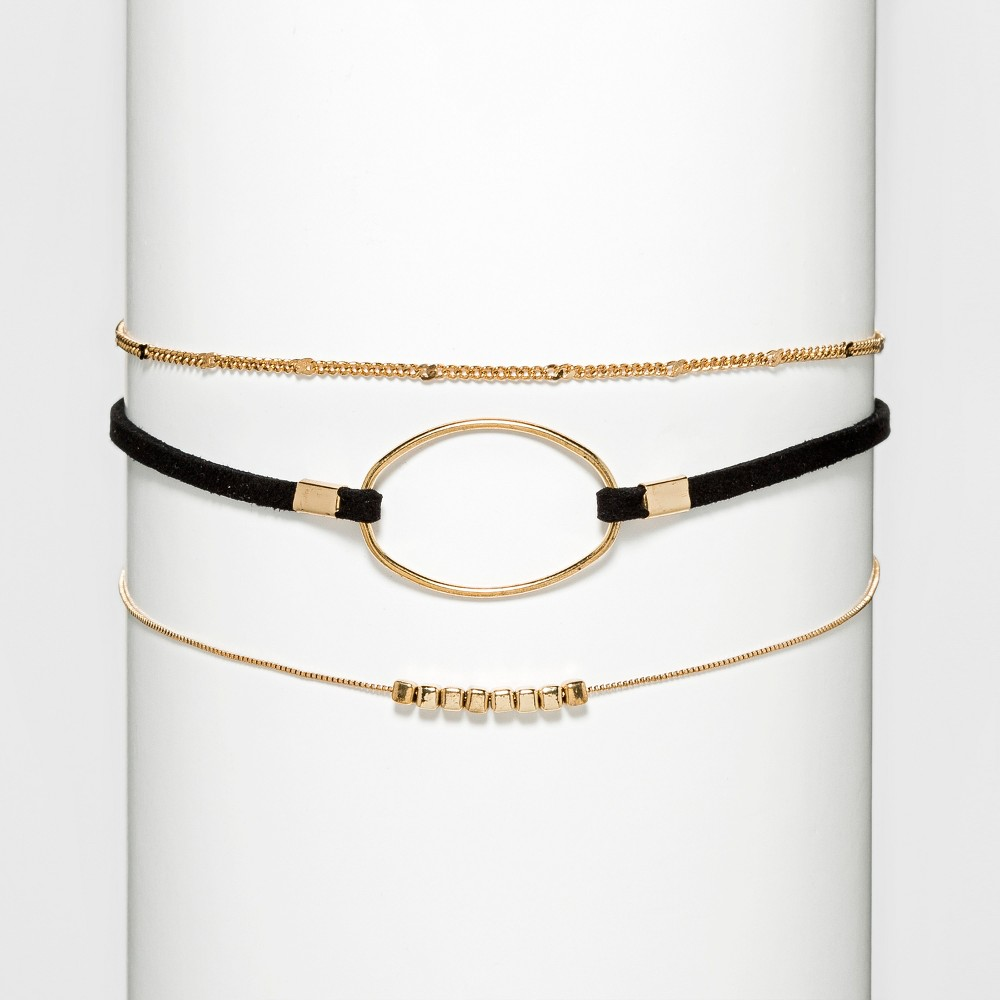 Faux Leather Thin Choker with Two Chains - Black/Gold, Size: Large