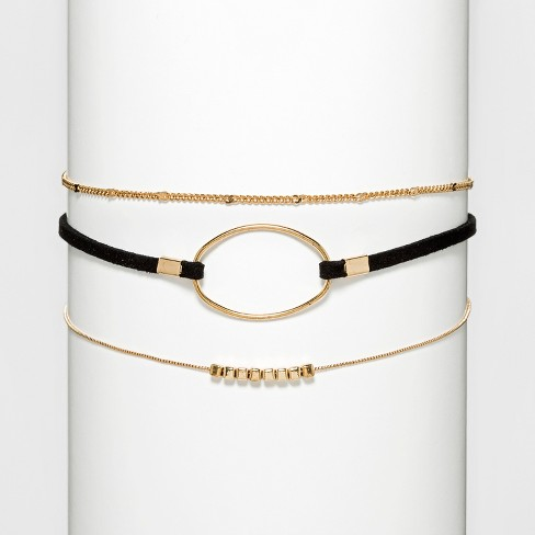 Faux Leather Thin Choker with Two Chains - Black/Gold - image 1 of 3