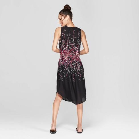 426223cbcd Women s Floral Print Sleeveless V-Neck Cinched Waist Midi Dress -  Xhilaration™ Black
