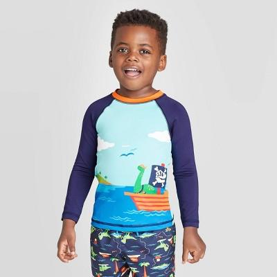 Toddler Boys' Dino Print Long Sleeve Rash Guard Swim Shirt - Cat & Jack™ Navy/Aqua 4T