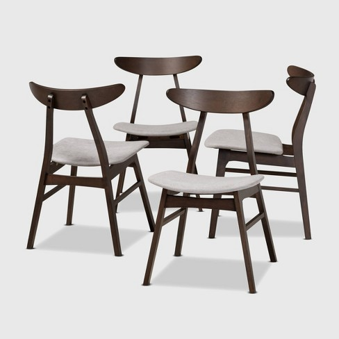 Set Of 4 Britte Fabric Upholstered Wood Dining Chair Set Light Gray Dark Brown Baxton Studio Target