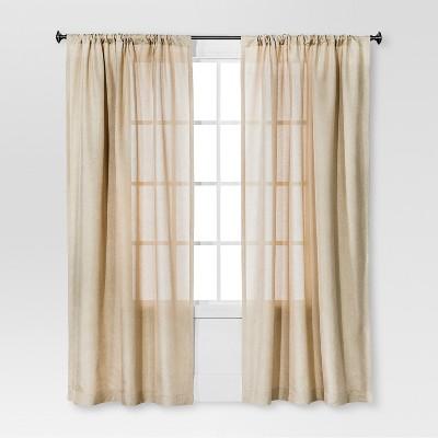 Solid Metallic Window Curtain Panel Tan (54 x84 )- Threshold™