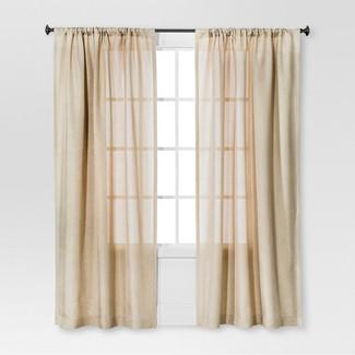 "Solid Metallic Window Curtain Panel Tan (54""x84"") - Threshold™"