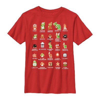 Boy's Nintendo Super Mario Bros Character Guide T-Shirt