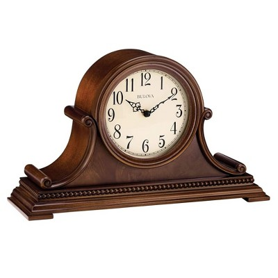 Bulova B1514 Asheville Battery Powered Chiming Mantel Clock with 3 Chime Options and Volume Control, Brown Cherry Finish