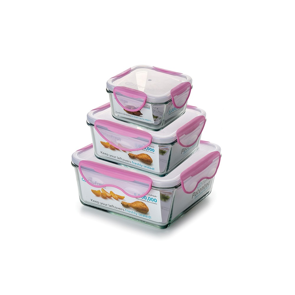Image of ClipFresh Set of 3 Food Storage Container Light Pink
