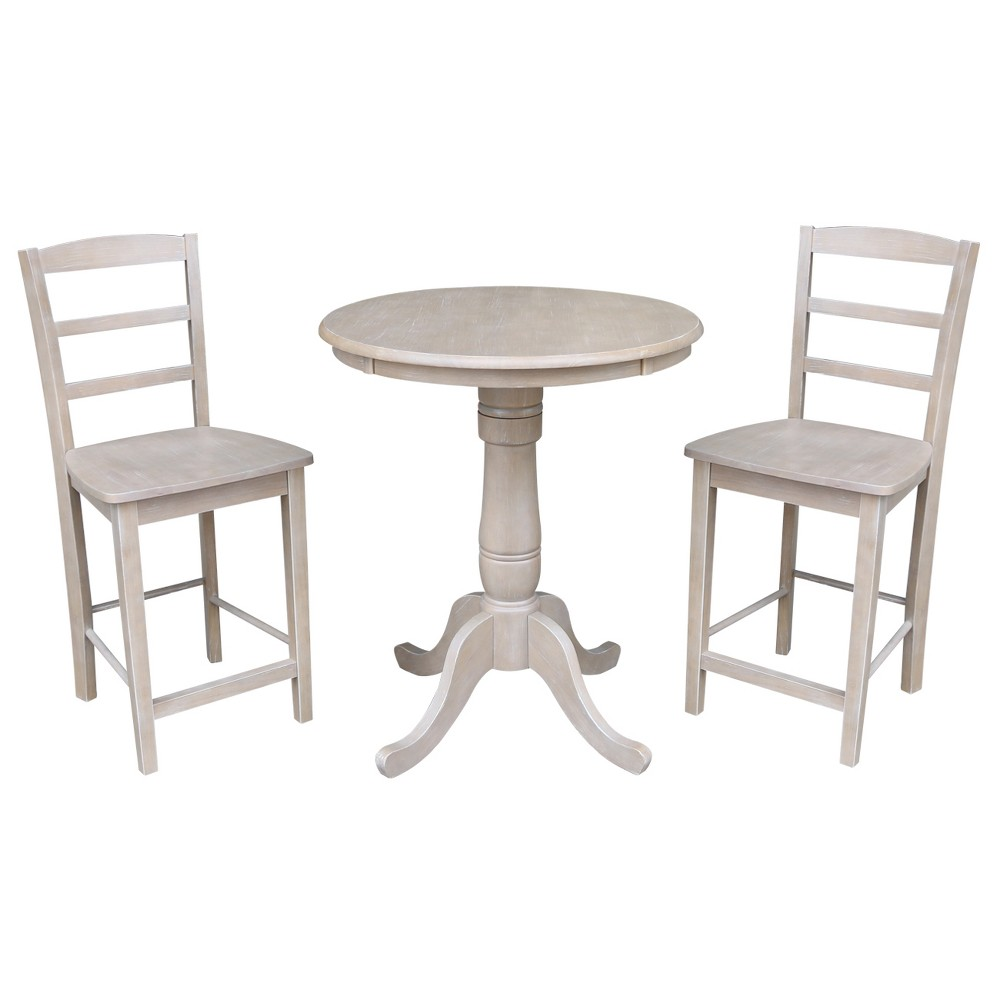 3pc Solid Wood Round Pedestal Counter Height Table and 2 Madrid Stools Washed Gray Taupe - International Concepts was $769.99 now $577.49 (25.0% off)