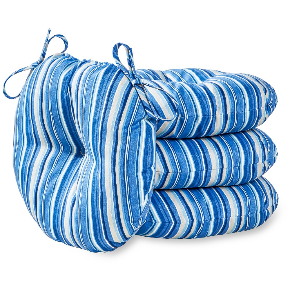 "Image of ""4pk 15"""" Sapphire Stripe Outdoor Bistro Chair Cushions - Kensington Garden"""