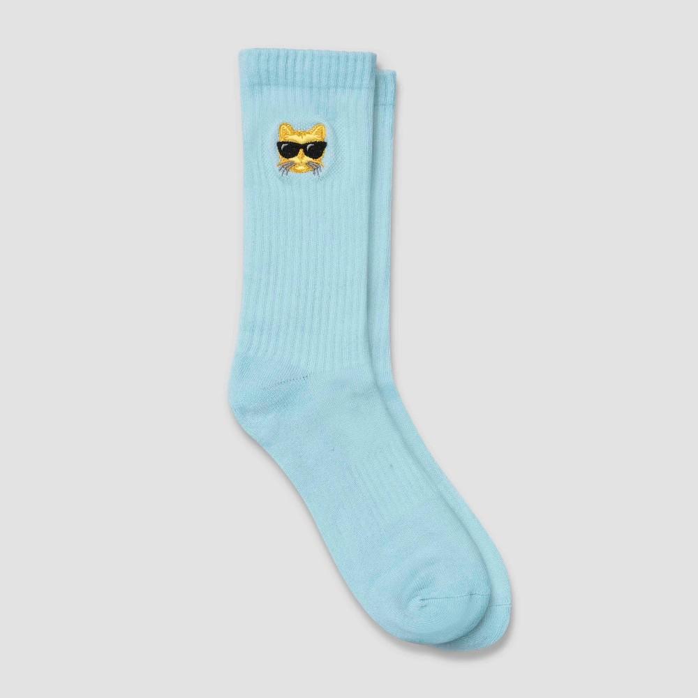 Image of Men's Human Knowledge Cool Cat Crew Socks - Sea Shore 6-12, Size: Small, Green