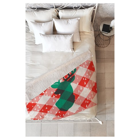 "Red Geometric Zoe Wodarz Oh Deer Me Sherpa Throw Blanket (50""X60"") - Deny Designs® - image 1 of 2"