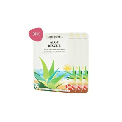 BioRepublic Skincare Revitalizing Fiber Face Mask Sheets - Aloe & Vitamin E - 3ct