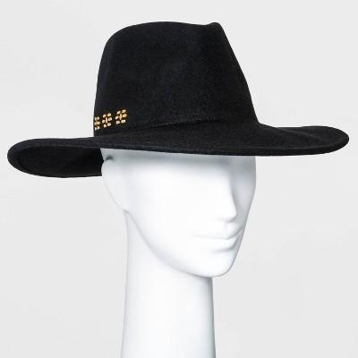 Women's Wide Brim Embellished Felt Fedora Hat - Universal Thread™ Black