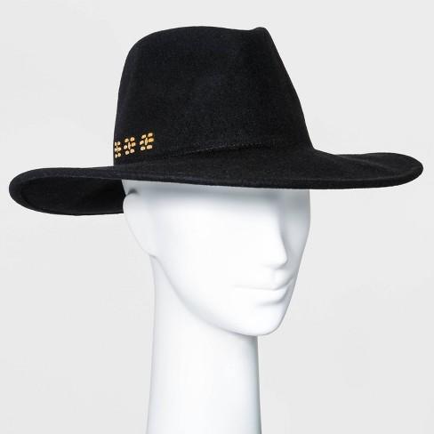 Women's Wide Brim Embellished Felt Fedora Hat - Universal Thread™ Black - image 1 of 2
