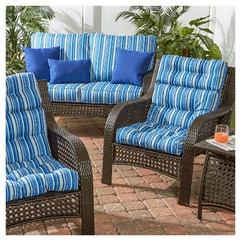 Set Of 2 Coastal Stripe Outdoor High Back Chair Cushions Greendale Home Fashions