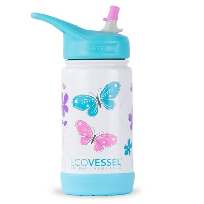EcoVessel 12oz Frost Insulated Stainless Steel Kids' Water Bottle with Straw Top - Butterfly