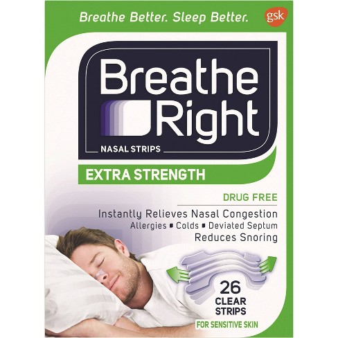 Breathe Right Extra Clear for Sensitive Skin Drug-Free Nasal Strips for Congestion Relief - 26ct - image 1 of 4