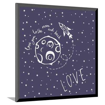 Card Love You to the Moon and Back by Happiestsim Mounted Print 10 x11  - Art.Com