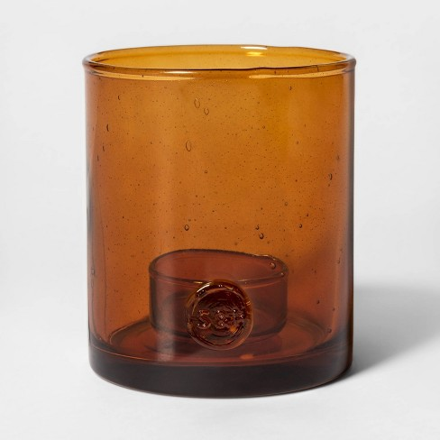 "5"" x 4.2"" Glass Hurricane Tealight Candle Holder Amber - Smith & Hawken™ - image 1 of 4"