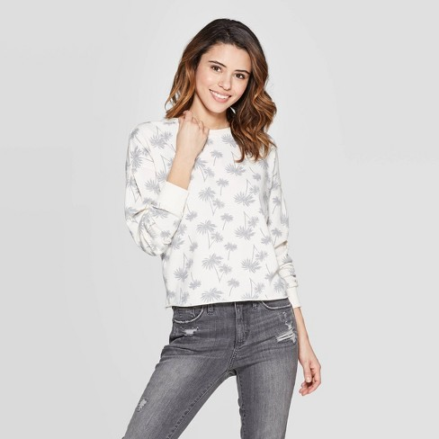 Women's Palm Tree Sweatshirt - Zoe+Liv (Juniors') - White - image 1 of 3
