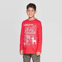 Boys' Long Sleeve Christmas Graphic T-Shirt - Cat & Jack™ Red