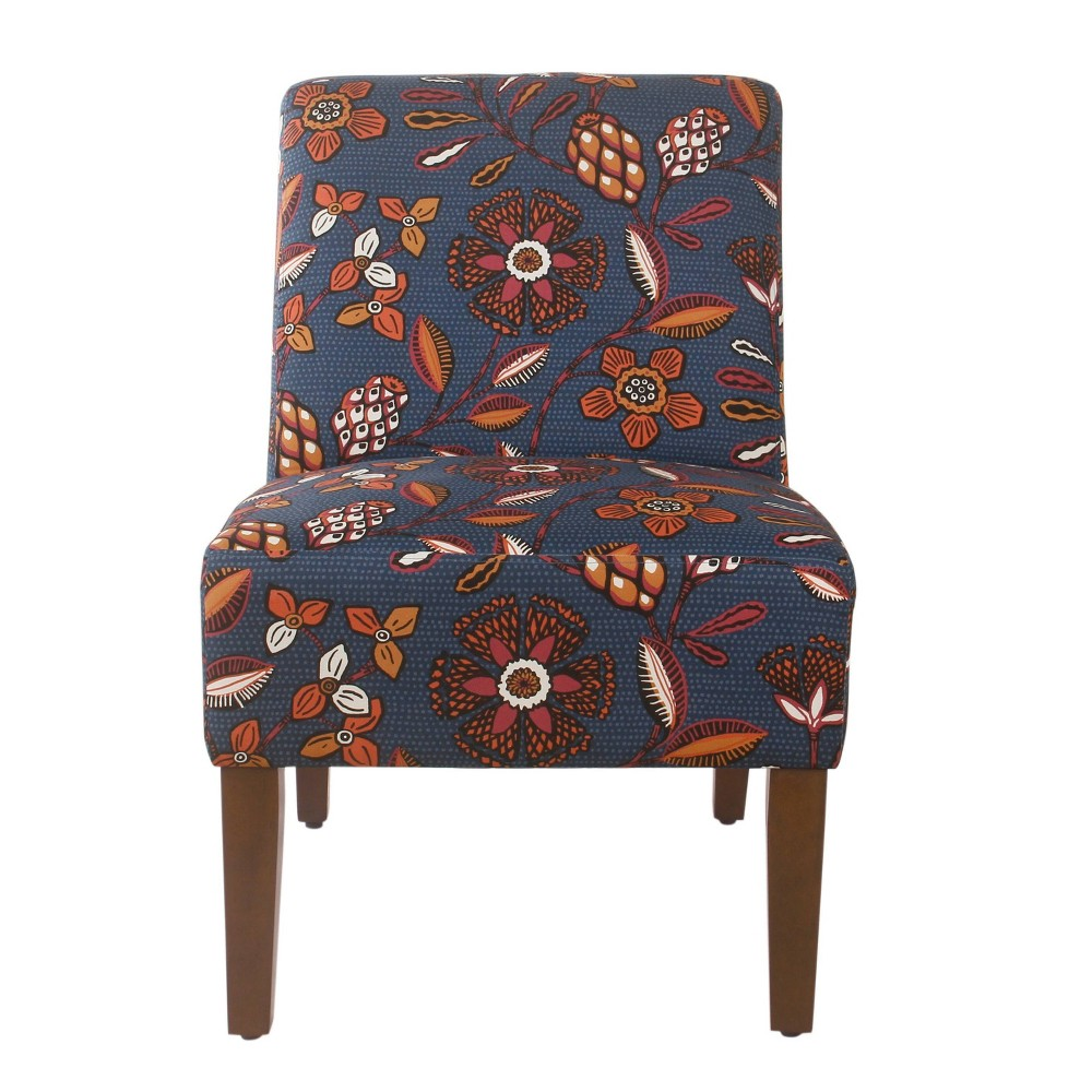 Image of Armless Accent Chair Blue/Pink Floral - HomePop
