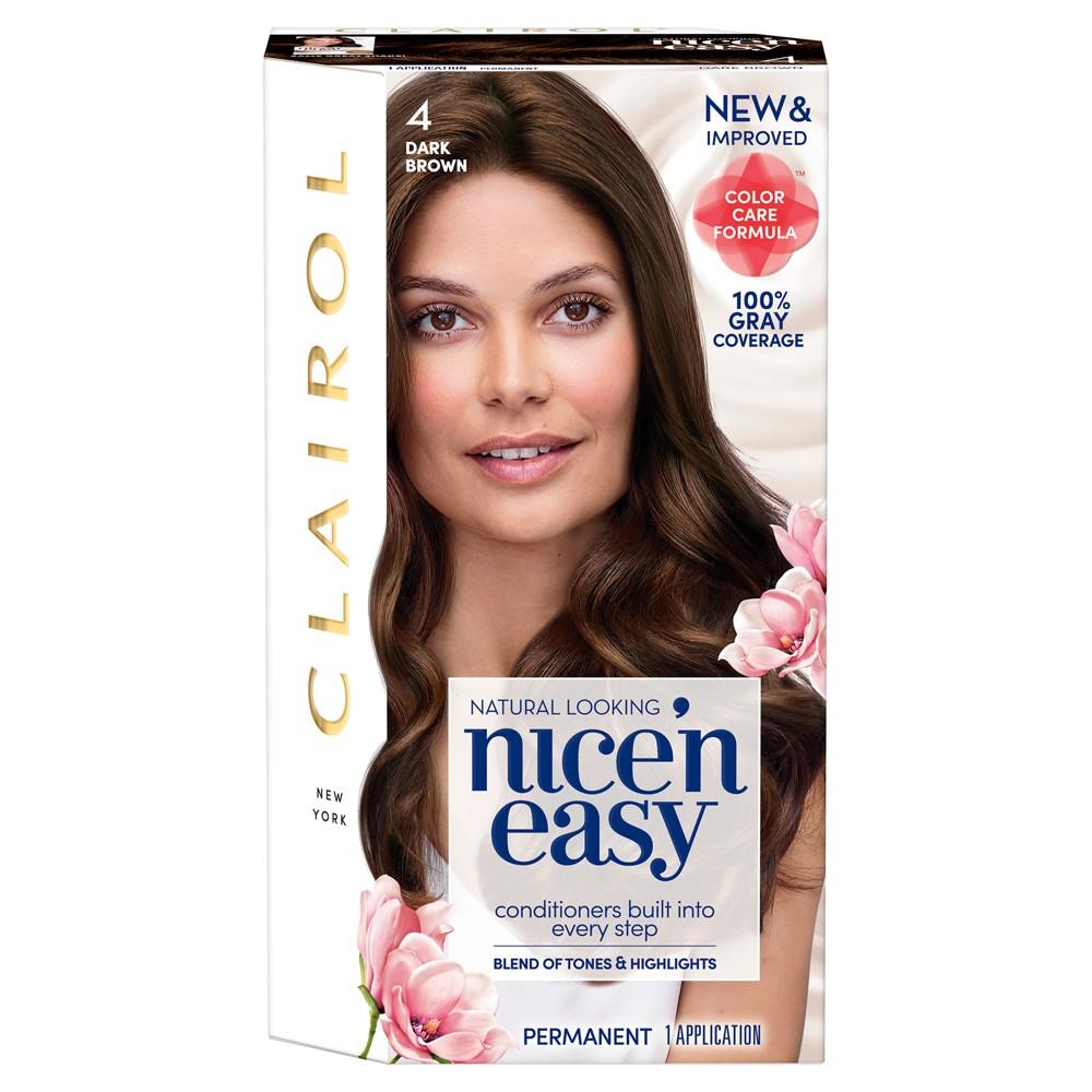 Image of Clairol Nice 'N Easy Permanent Hair Color - 4 Dark Brown - 1 kit