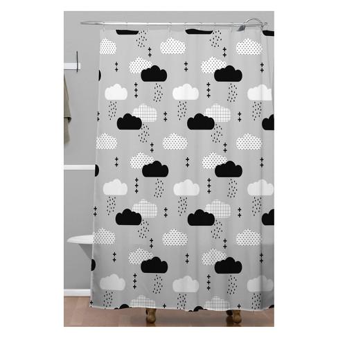 Little Arrow Design Co Modern Clouds Shower Curtain Gray