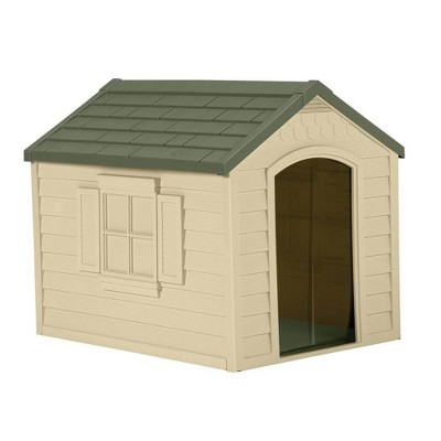Suncast DH250 Durable Resin Snap Together Dog House with Removable Roof, Brown