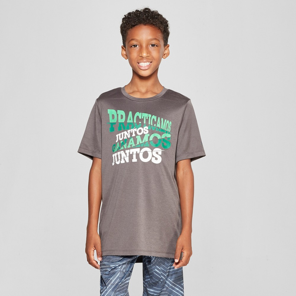 Boys' Graphic Tech T-Shirt - C9 Champion Practicamos Juntos Ganamos Juntos Charcoal Grey XL, Gray