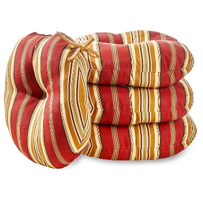 """4pk 15"""" Roma Stripe Outdoor Bistro Chair Cushions - Kensington Garden"""