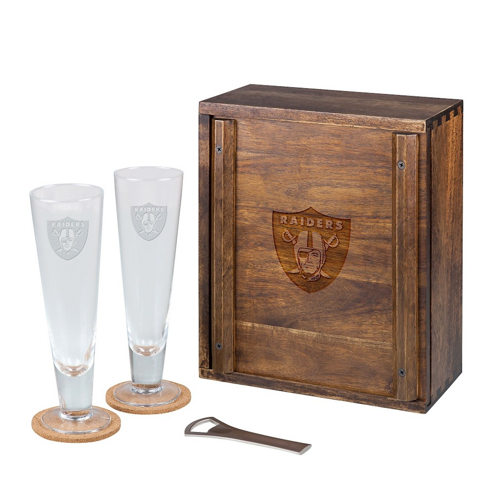 Oakland Raiders - Pilsner Beer Gift Set for 2 by Picnic Time (Acacia)