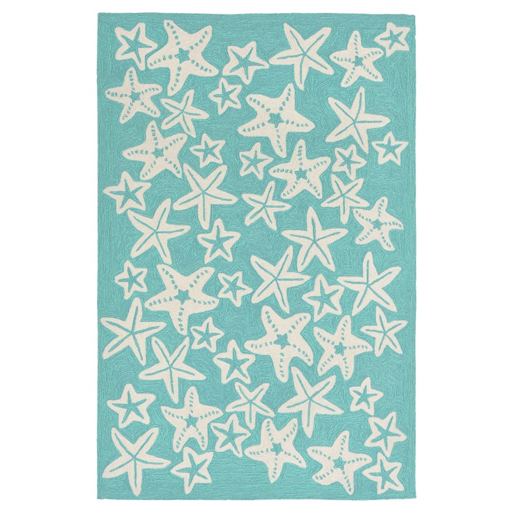"Image of ""Capri Starfish Rug - Blue - (3'6""""X5'6"""") - Liora Manne"""
