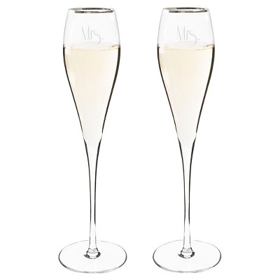 2ct Mrs. & Mrs. Gatsby Silver Rim Champagne Flutes