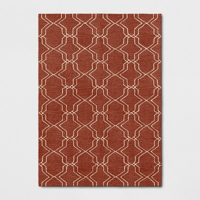 5'X7' Trellis Elevated Fretwork Tufted Area Rug Red - Threshold™