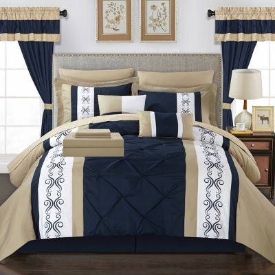 King 20pc Kaia Bed In A Bag Comforter Set Navy - Chic Home Design