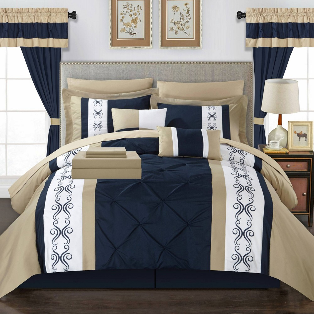 King 20pc Kaia Bed In A Bag Comforter Set Navy Chic Home Design