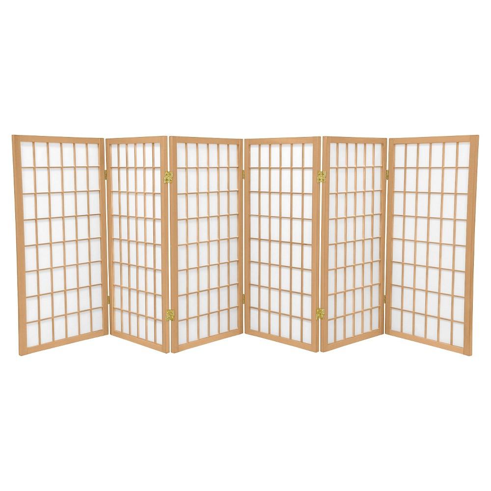 Oriental Furniture 6 ft Tall Window Pane Shoji Screen