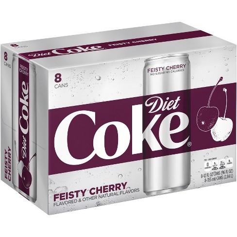 Diet Coke Feisty Cherry 8pk 12 Fl Oz Sleek Cans Target