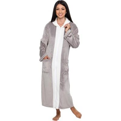 Silver Lilly Women's Full Length sherpa Zip Up Bathrobe,