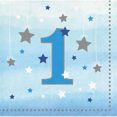 48ct One Little Star Boy 1st Birthday Beverage Napkins Blue