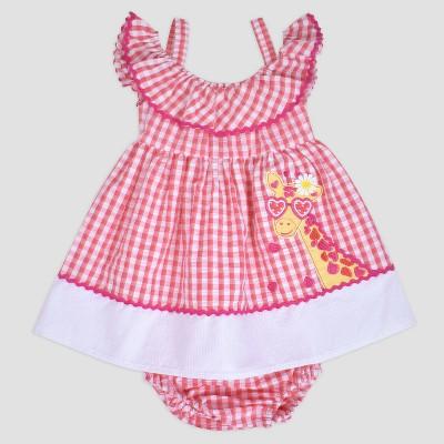 Baby Girls' Gingham Stripe Giraffe Seersucker Dress Nate & Annee™ Coral 6-9M