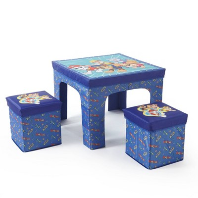 3pc PAW Patrol Collapsible Set with Storage Table and 2 Ottomans