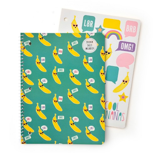 Spiral Notebook with Sticker Sheet 1 Subject College Ruled Teal Bananas - Gartner Studios - image 1 of 2