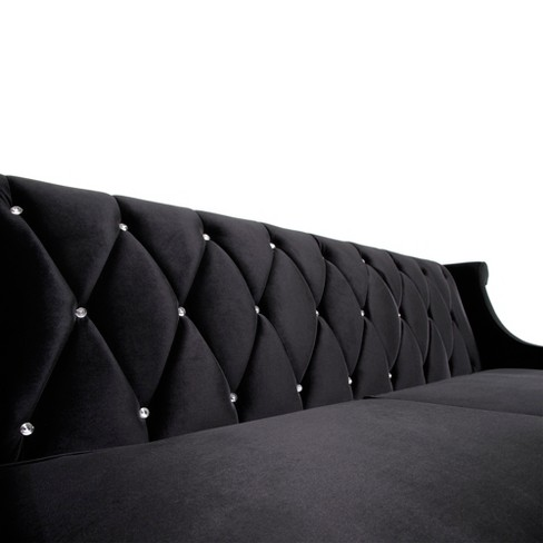 Barrister Sofa Velvet Black With Crystal Buttons Armen Living Target
