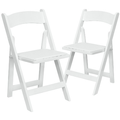 Flash Furniture 2 Pack HERCULES Series Wood Folding Chair with Vinyl Padded Seat