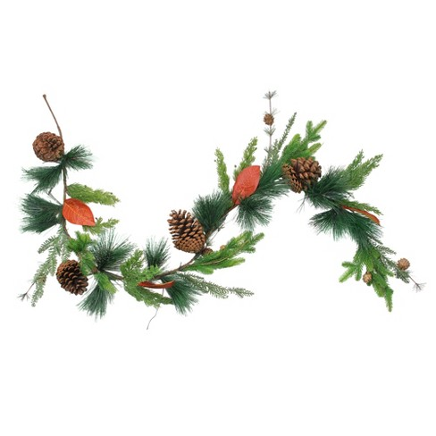 """Northlight 5' x 5"""" Green and Brown Pine Cones Artificial Christmas Garland - Unlit - image 1 of 2"""