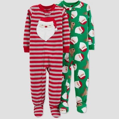 Baby Boys' Fleece Stripe Santa Reindeer Pajama Set - Just One You® made by carter's Red 9M