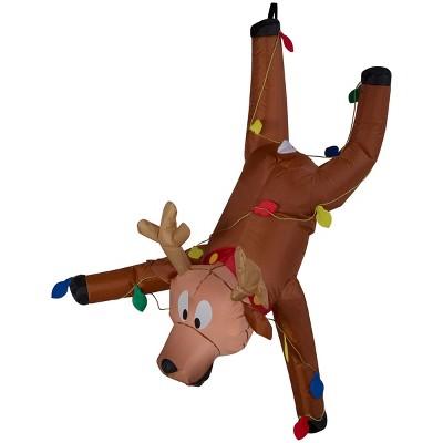 Gemmy Christmas Airblown Inflatable Gutter Hanging Reindeer, 4 ft Tall, brown